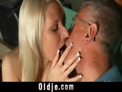 oldman blessed with a youthful wet crack for fuck