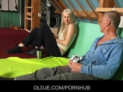 shy oldman seduced and drilled by cocky hussy