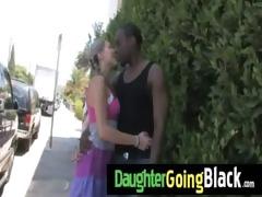 fresh dark stepdad punishes sexy daughter for