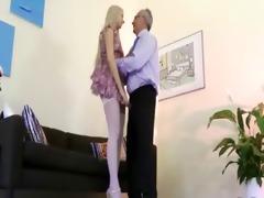 fascinating babe seduces old stud