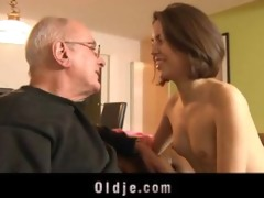 horny gal sucking old dick