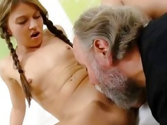 anna has her bald pussy eaten out by her older