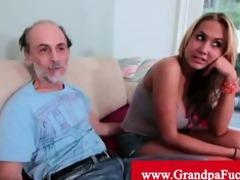 grandad getting a tit slap from a blond floozy