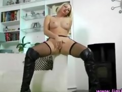 posh golden-haired in nylons gets hawt