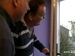 2 old guys shave a young cookie