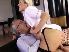 golden-haired euro babe bonks old mans rod
