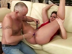 old guy toying young pussy