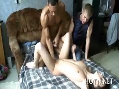 nymph fondles large cock
