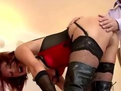 older guy fucks a sexy younger stocking slut