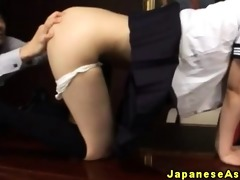 oriental schoolgirl acquires a toy in her ass