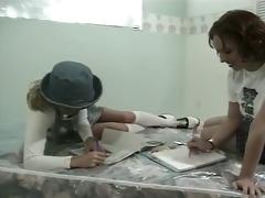 stepdad disciplines youthful schoolgirls