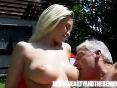 youthful breasty girl screwed by an old bulky guy