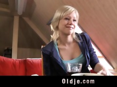 blonde youthful girl bangs with aged