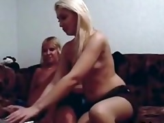 blonde mother and not her daughter play on webcam