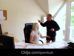 hot blonde secretary hardcore fuck with his old