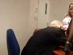 old geezer goes down on young doxy on his office