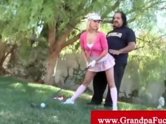 old perv helps legal age teenager with her swing