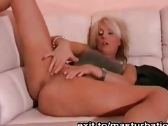 blonde german mother masturbates on bed