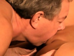 oldman copulates young brunette after finding her