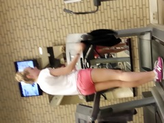 hot blond angel on threadmill running with strap