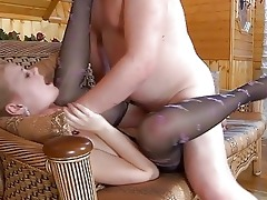 juvenile blond in hose gets slammed by mature dad