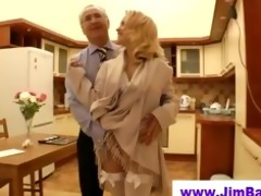old stud copulates blond in short petticoat
