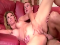 blonde watches her mother getting fucked by her