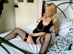 british blonde sub whore shackled up and used