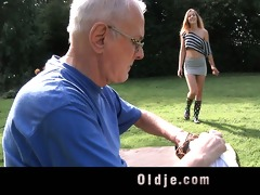 lucky grandpa cleans juvenile lascivious pussy
