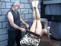 hard spanking for hot young dark brown perky tit