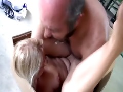 old fat perv copulates sexy blond bookworm in a
