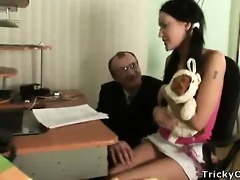 gorgeous brunette receives fucked by her teacher